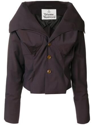 blazer cropped women wool brown jacket