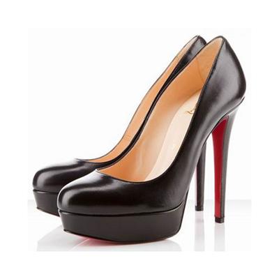 Finest materials platform pumps black red sole shoes popular christian louboutin bianca