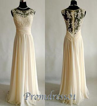 dress prom vintage lace chiffon champagne