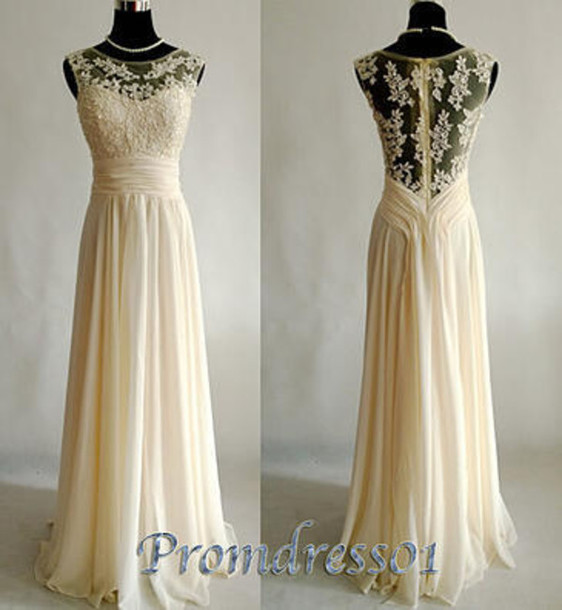dress prom vintage lace chiffon champagne