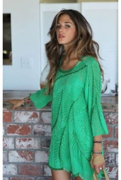 dress tunic green dress green sequin dress sequins feathers tunic dress cute dress coverup