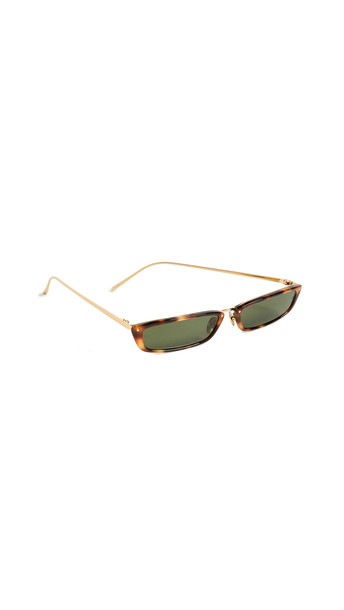 Linda Farrow Luxe Narrow Rectangular Sunglasses in brown / green