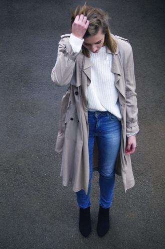 katiquette blogger jeans trench coat