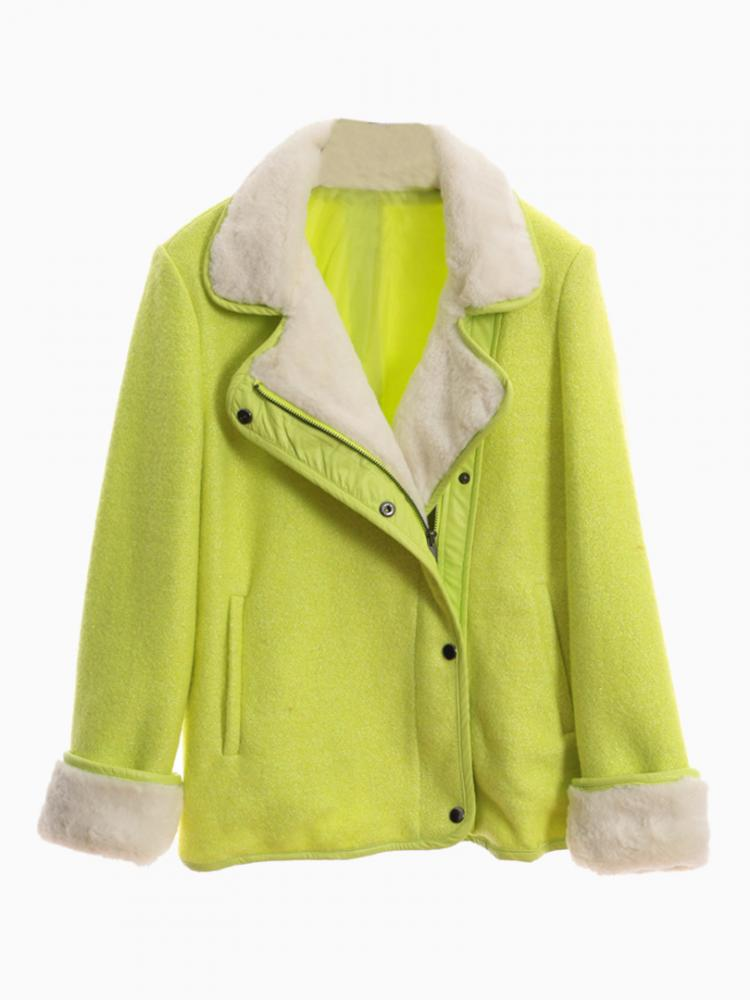 Green Duffle Coat With Faux Fur Trim | Choies