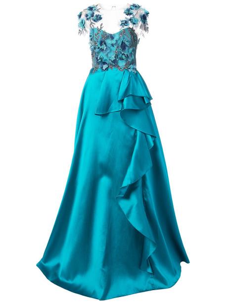 Marchesa Notte gown women embellished floral blue silk dress