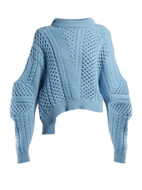 sweater cropped sweater cropped blue knit