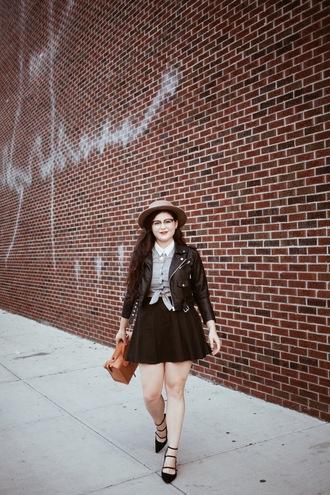 noelles favorite things blogger jacket top skirt shoes hat bag