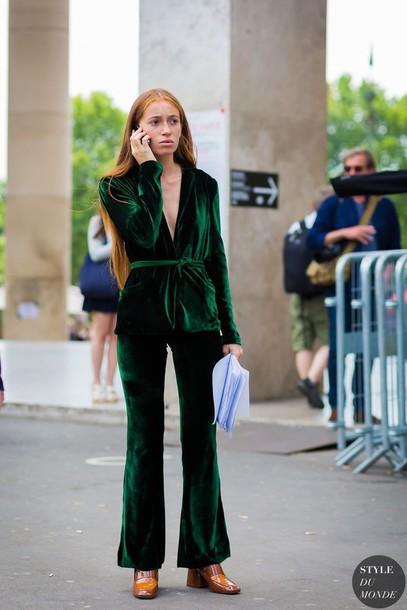 Pants Velvet Pants Flare Velvet Pants Tumblr Green