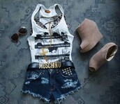 t-shirt,shoes,shorts,shirt,peep toe,nude,leather,wedge heel,belt