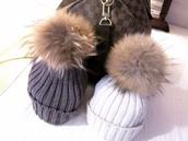hat,fur,fur hat,beanie,fur beanie,fur bobble pom pom wool hat