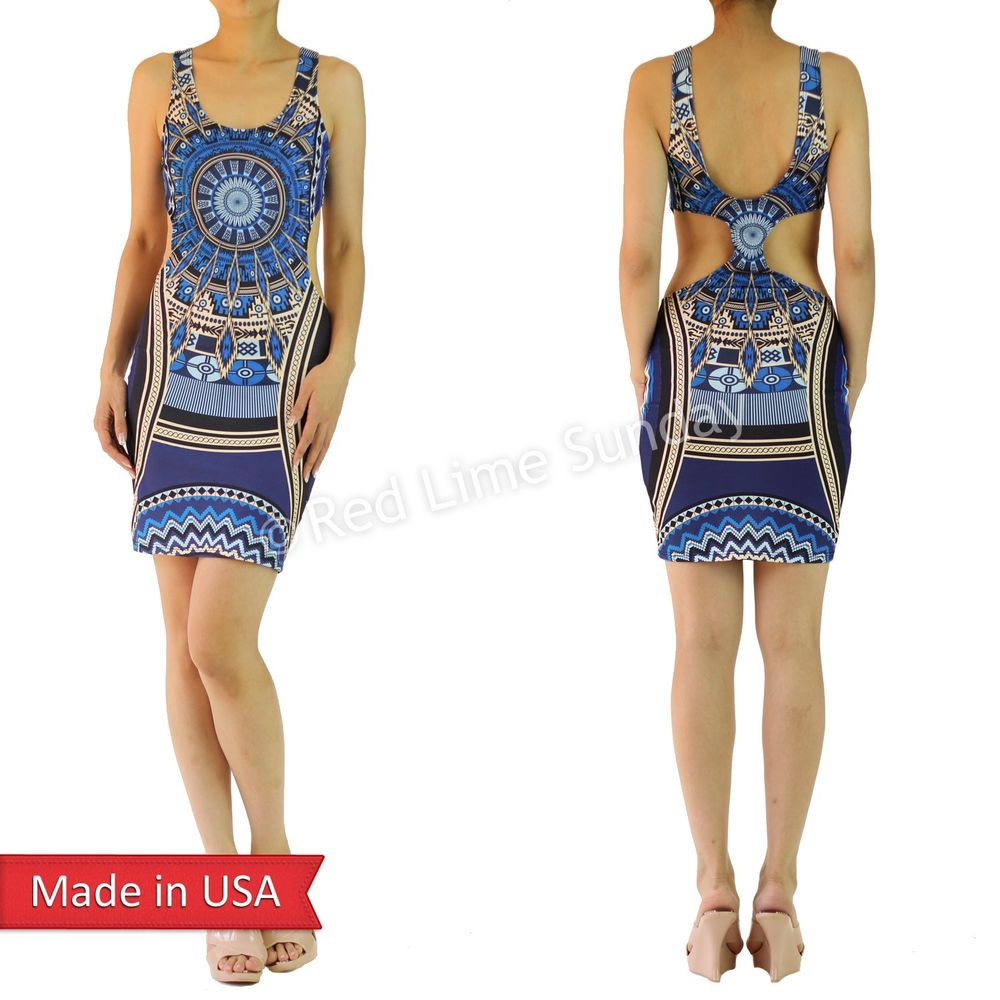 Hot Blue Aztec Print Bodycon Open Back Fitted Sexy Cut Out Mini Tank Dress USA