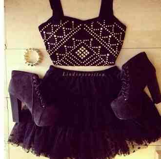 cute lace skirt tutu punky studs high waisted t-shirt girly shirt shoes tank top