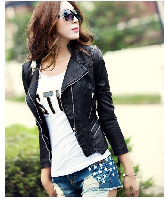 New women jacket slim leather jackets coat
