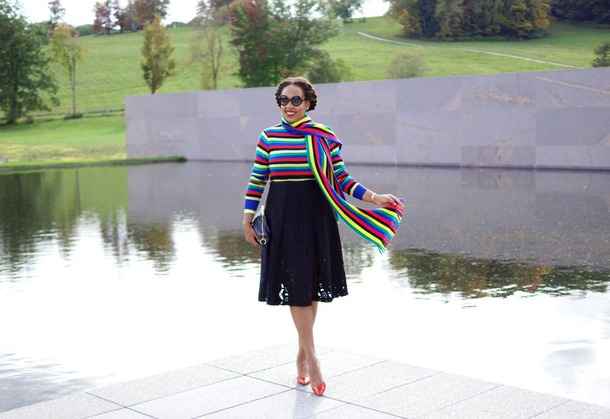 closetconfections blogger sweater scarf skirt bag sunglasses shoes fall outfits striped sweater pumps clutch midi skirt