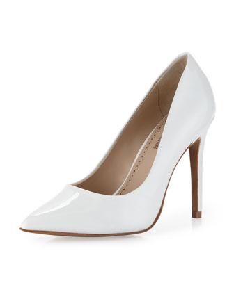 Pour la Victoire Eastona Patent Pointy-Toe Pump, White - Neiman Marcus Last Call