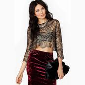 top,embroidered,lace,lace top,gold,mcclaugherty,clothes