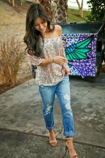 blouse glitter blouse glitter shirt ane shoulder shirt occasion glamour glitter