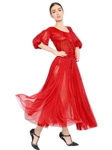 Silk tulle bustier dress
