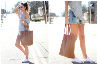 for all things lovely blogger jewels sunglasses make-up off the shoulder grey top denim shorts white converse brown bag