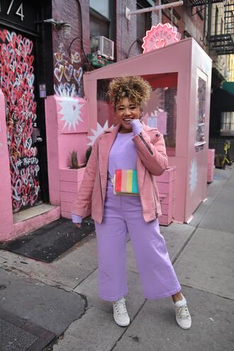 colormecourtney blogger sweater jeans pants shoes bag jacket pink jacket belt bag sneakers spring outfits