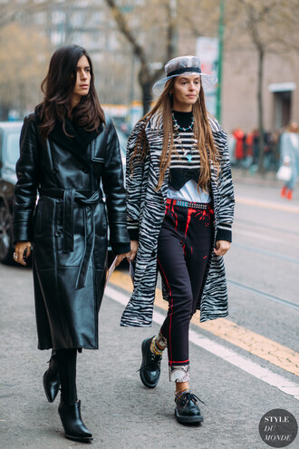 coat zebra zebra print pants black pants shoes black shoes hat streetstyle leather coat