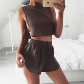 romper,brown,two-piece