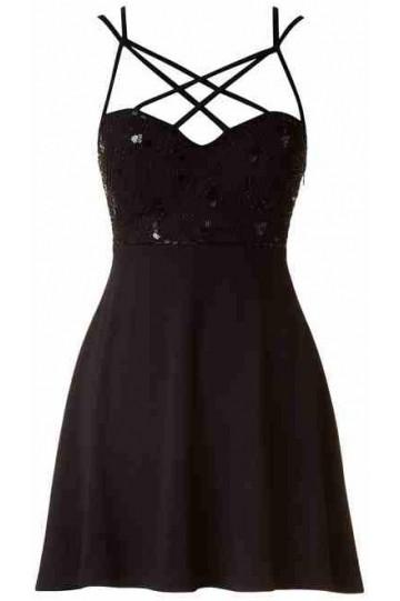 Black cut out sequin skater dress