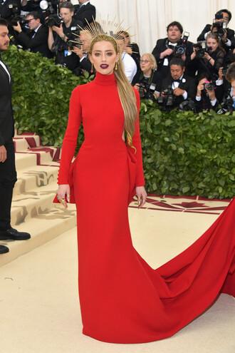 dress red dress red red carpet dress amber heard met gala met gala 2018 long dress