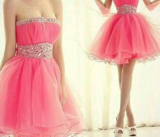 dress prom dress glitter glitter dress pink dress short dress strapless dress bustier dress tulle skirt tulle dress pink short dress party dress party outfits prom outfit tube dress sweetheart dress sleeveless dress pink