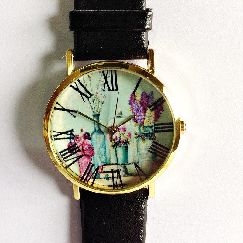 Shabby Chic Floral Watch, Vintage Style Leather Watch, Women Watches, Boyfriend Watch, Black, Tan, White