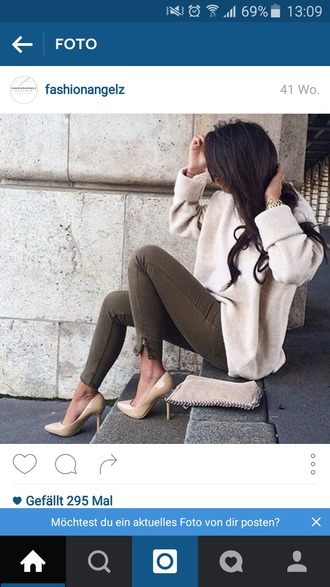 sweater beige sweater warm nude olive jeans nude heels fall sweater fall outfits beautiful perfect trendy