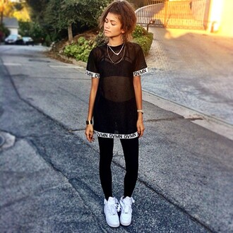 top zendaya t-shirt dress quote on it t-shirt see through see through top blouse dvmn black shirt shoes urban black and white mesh top swag mesh fashion trendy hipster black nikes nike sneakers nike underwear mesh top black mesh top shearshirt dope wishlist shirt bralette white leggings sheer