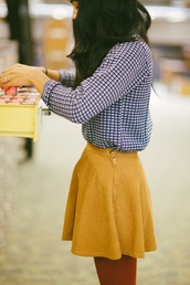 skirt,yellow,american apparel,corduroy,shirt,mustard skirt,skater skirt,yellow skirt,mustard,mini skirt,blue checkered shirt,chic,blouse
