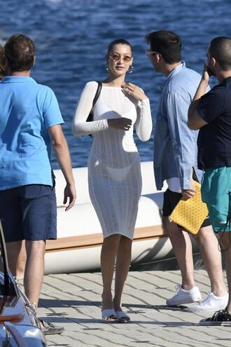 swimwear bikini bikini top bikini bottoms bella hadid model off-duty midi dress white white dress all white everything bodycon dress