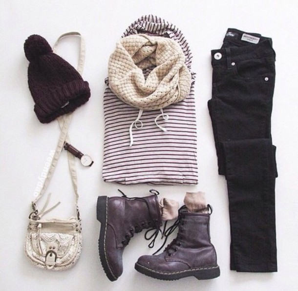 sweater jeans hat shoes scarf