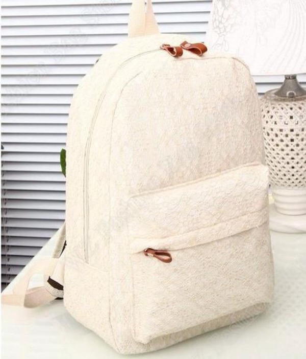 bag backpack back to school lace white