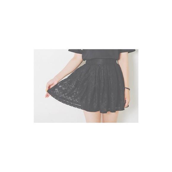 skirt black skirt black black skater skirt korean fashion