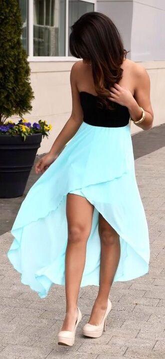 dress asymmetrical black and light bue