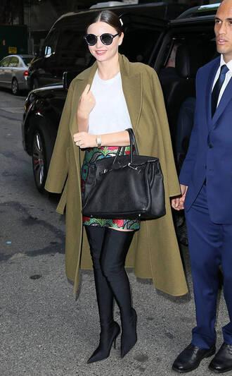 skirt coat boots miranda kerr model off-duty