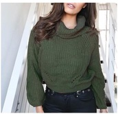 sweater,olive green,forest green,green,sweatshirt,sweater weather,crochet,sweet,fall outfits,winter outfits,winter sweater,winter swag,oversized sweater,oversized