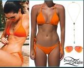 swimwear,orange,orange swimwear,bikini,orange bikini,kendall jenner,swimwear two piece