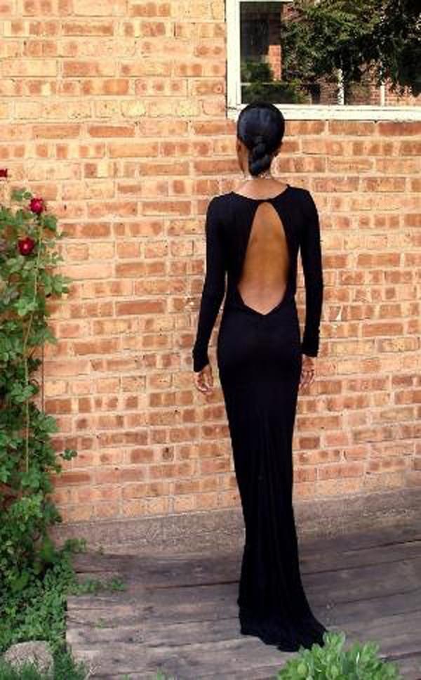 dress black black dress clothes dress black backless dress backless dress backless maxi dress black dress open back open back dresses evening dress gown classic fashion