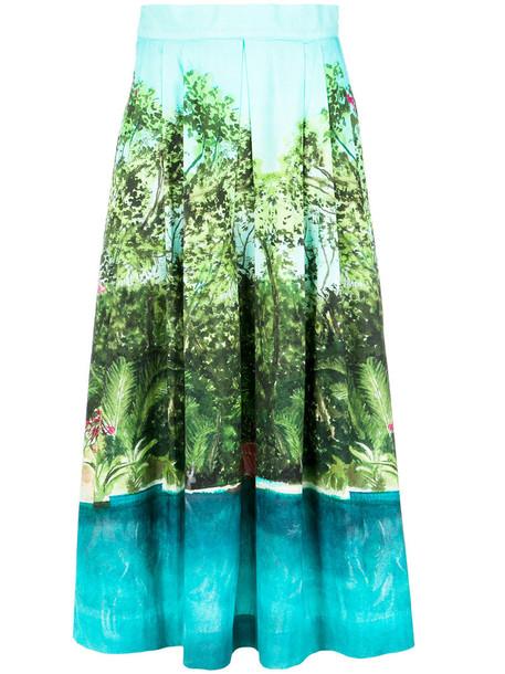 isolda skirt midi skirt women midi cotton blue