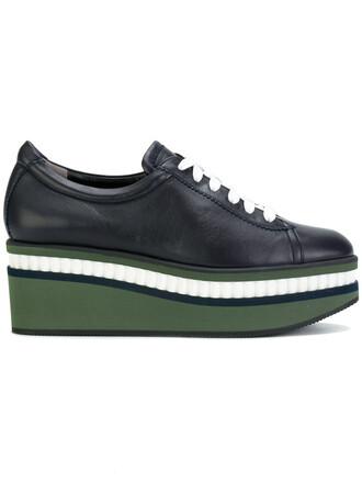 women shoes lace-up shoes lace leather blue