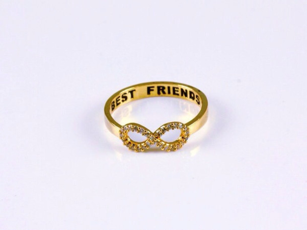 Jewels ring infinty bff friends bestie r gold rose gold