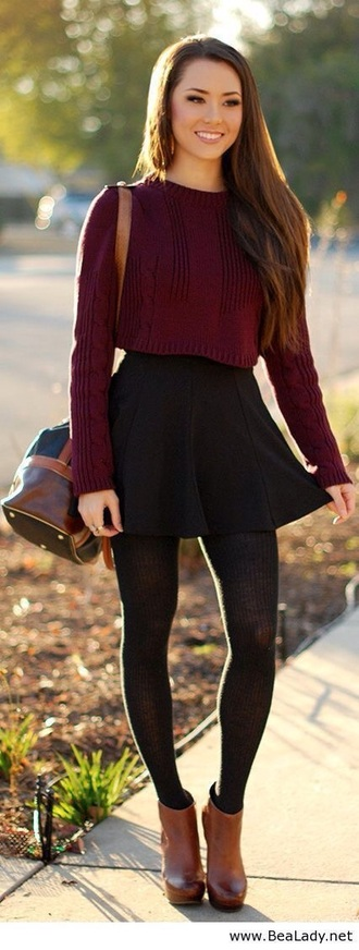 shirt black burgundy sweater skirt