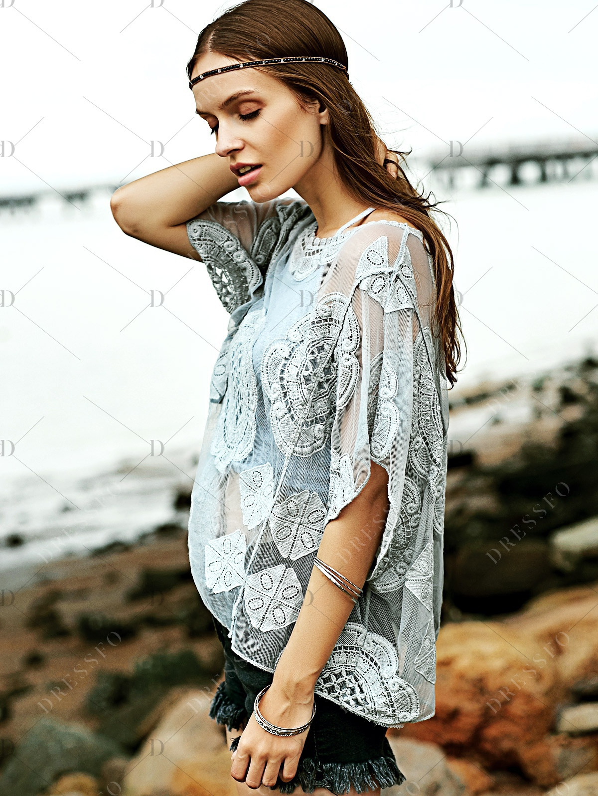 Stylish Round Neck Short Sleeve Embroidery See-Through Women's Cover Up