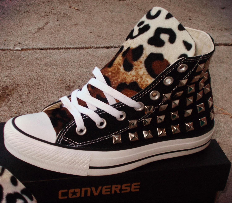 Leopard converse shoes