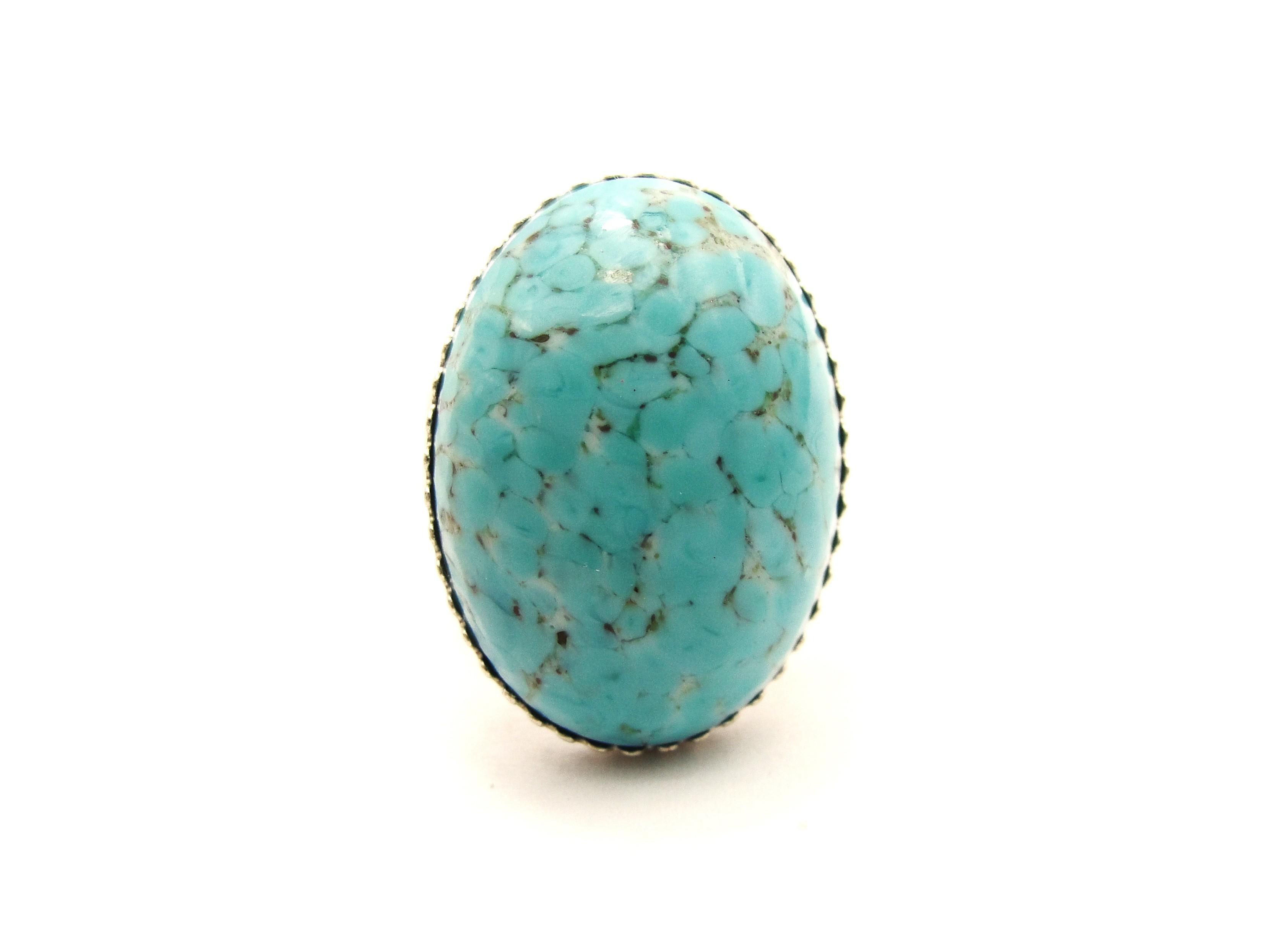 Vintage turquoise matrix large ring