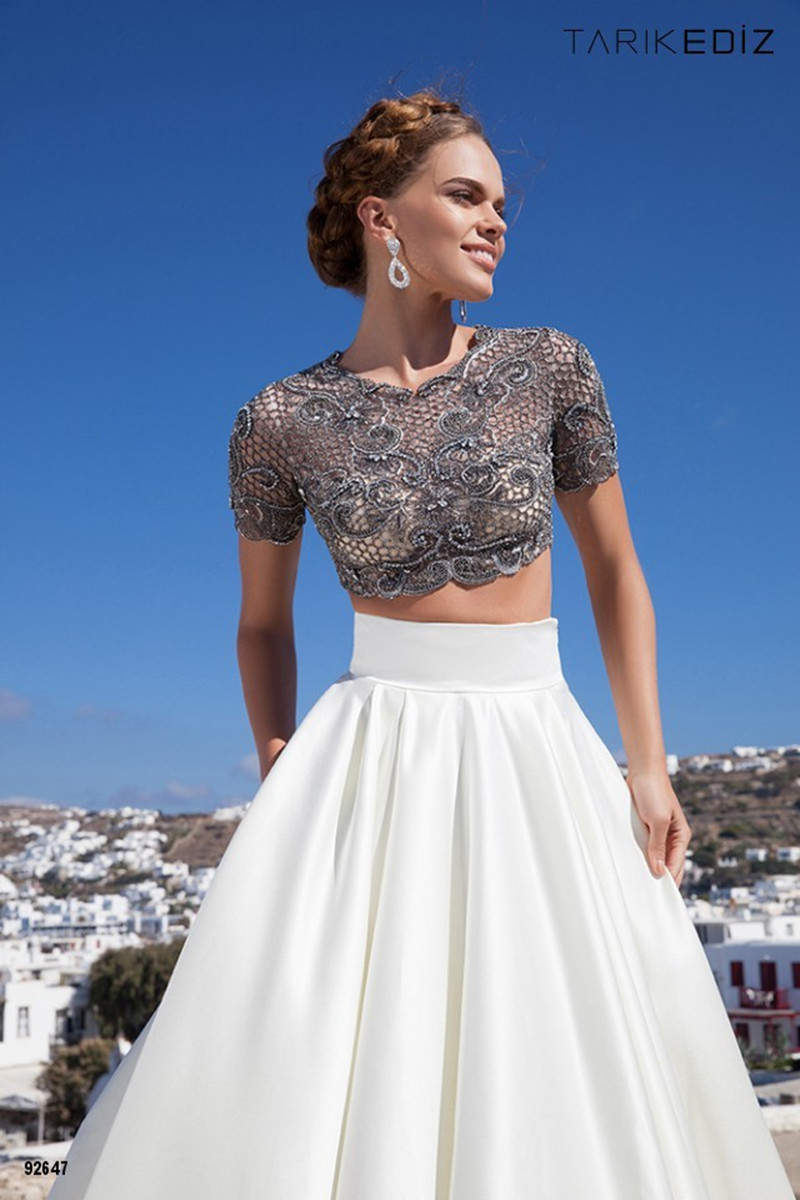 Formal Dress 2015 New Spring Short Sleeve Long Gown Two Piece Prom ...